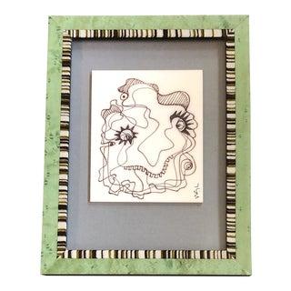 Original Vintage Wayne Cunningham Small Abstract Ink Drawing Framed Vintage Italian Frame For Sale