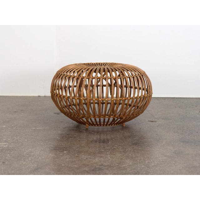 Brown Vintage Woven Rattan Ottoman by Franco Albini For Sale - Image 8 of 8