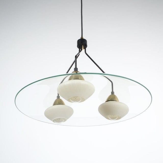 Angelo Lelii Style Ufo Chandelier Clear Glass Brass, Italy Circa 1955 For Sale - Image 6 of 13
