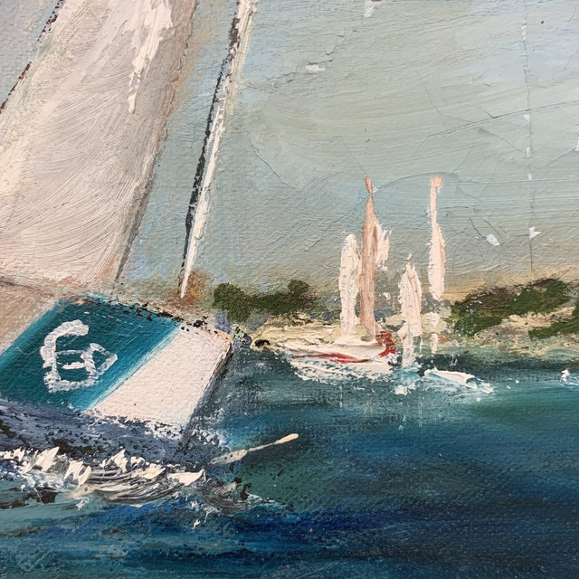 Antique Sailboat Painting Framed For Sale - Image 12 of 13
