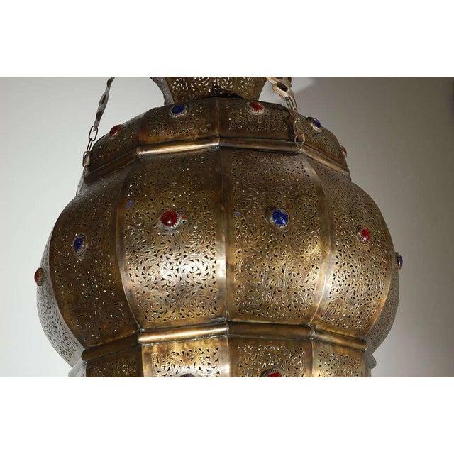 Mid 20th Century Vintage Moroccan Moorish Brass Chandelier, Alberto Pinto Style For Sale - Image 5 of 10