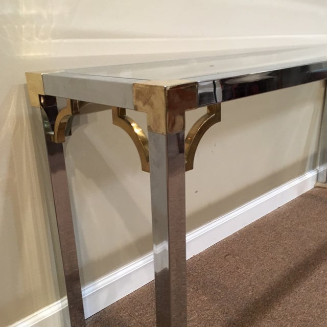 Chippendale Mastercraft Chrome and Brass Console Table For Sale - Image 3 of 9