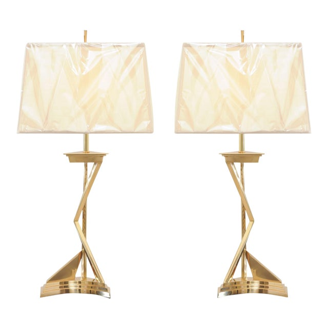 Exquisite Pair of Modern Brass Lamps, Circa 1960 For Sale