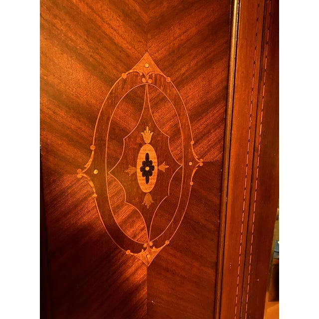 Traditional Late 19th Century Edwardian Wardrobe Cabinet With Mirror and Mother of Pearl Inlays For Sale - Image 3 of 8
