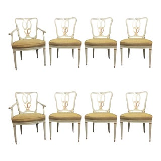 Hollywood Regency Sweet Heart Dining Chairs Parcel Gilt Gold & Paint Decorated - Set of 8