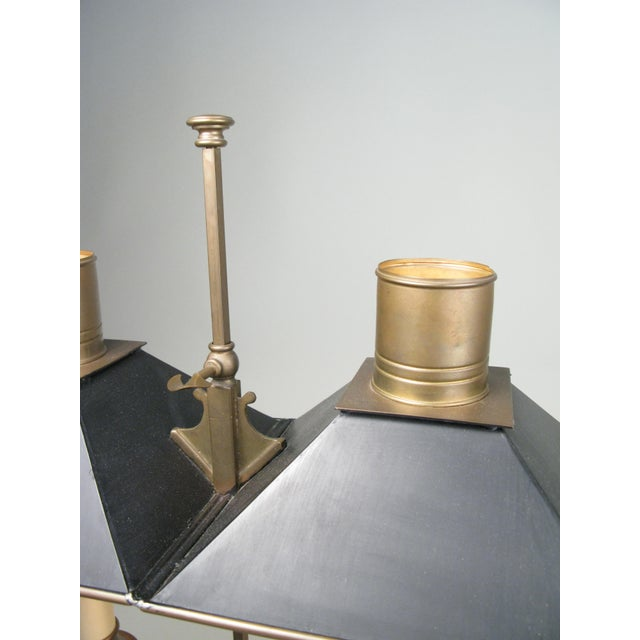 1970s Brass & Tole Empire Style Bouillotte Table Lamp For Sale - Image 5 of 8