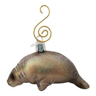 Vintage Glass Manatee Ornament For Sale