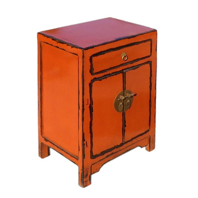 Oriental Orange Moon Face End Table Nightstand - Image 2 of 5