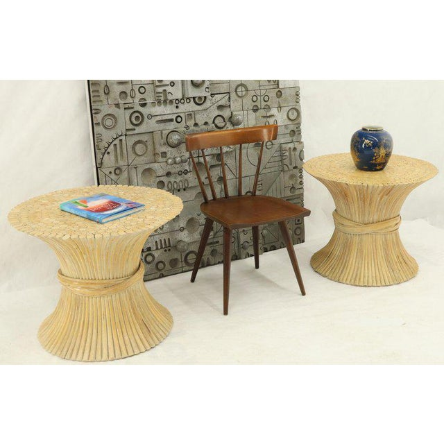 Pair of Mid-Century Modern round sheaf of bamboo or wheat end side occasional tables guerdons.