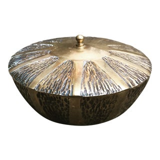Vintage Mid Century Modern Brass Lidded Box For Sale