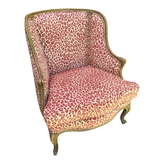 1940s Vintage French Red Leopard Upholstered Chair For Sale