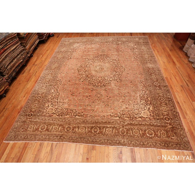 Antique Persian Tabriz Dusty Rose Rug - 13′7″ × 17′ For Sale In New York - Image 6 of 8