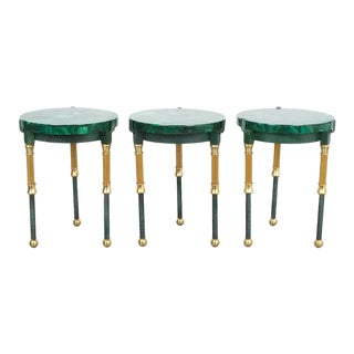 Set of Three Malachite Marquetry Side Tables, France 1940 For Sale