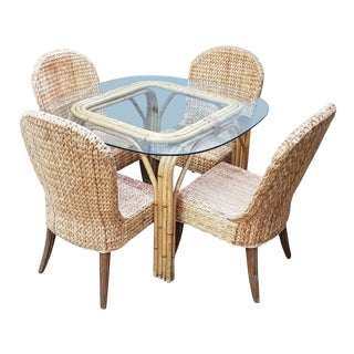 Mid Century Modern Rattan Dining Set - 5 Pieces For Sale