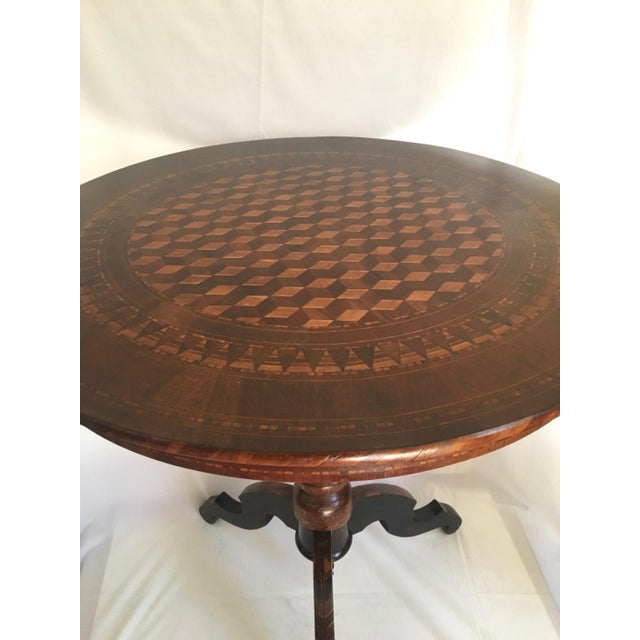 Mid 19th Century 19th Century Italian Marquetry Pedestal Center Table For Sale - Image 5 of 13