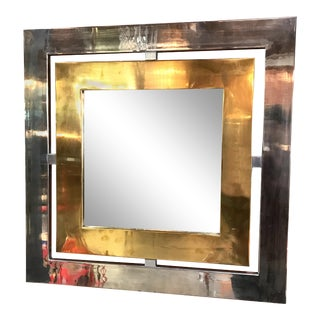 Romeo Rega Square Wall Mirror in Brass and Steel, Italy, 1970s For Sale