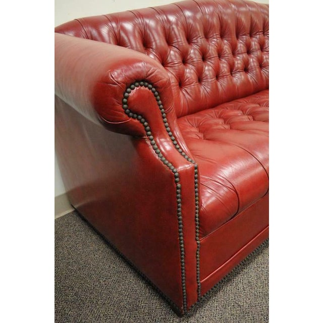 Vintage Red Leather English Chesterfield Style Button Tufted Sofa by Jasper For Sale In Philadelphia - Image 6 of 11