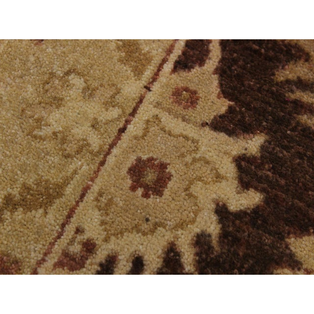 Textile 1990s Vintage Nobuko Brown/Tan Hand-Knotted Wool Rug - 2′6″ × 9′8″ For Sale - Image 7 of 8
