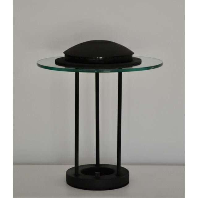 Postmodern Matte Black Table Lamp With Glass Disk For Sale - Image 10 of 10