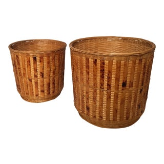 1970s Vintage Woven Tortoiseshell Wicker Baskets - A Pair For Sale
