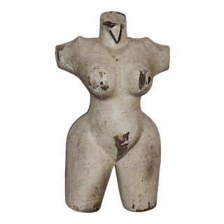 Folk Art Female Torso Sculpture For Sale