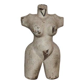 Folk Art Female Torso Sculpture For Sale