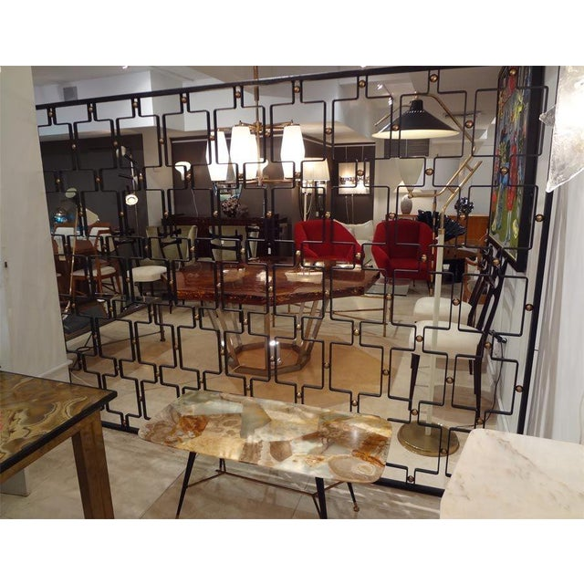 Gold Jean Royere Large Wrought Iron and Brass Screen France circa 1955 For Sale - Image 8 of 8