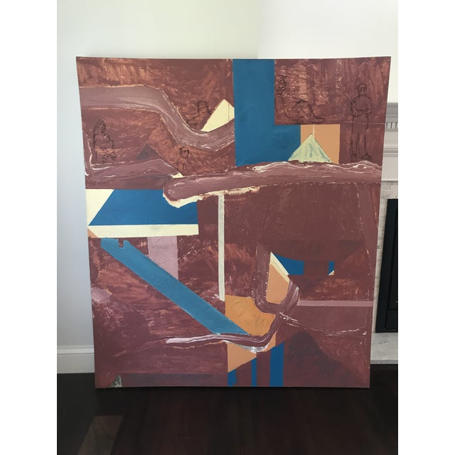 Abstract Mid Century Modern Large Original Abstract Oil Painting on Canvas For Sale - Image 3 of 11