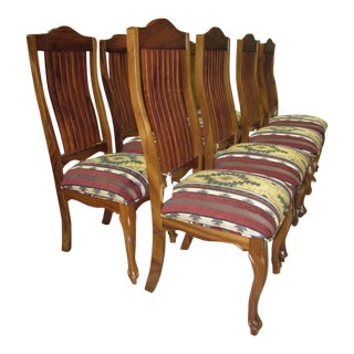Lath Back Southwest Style Dining Chairs - Set of 8 For Sale