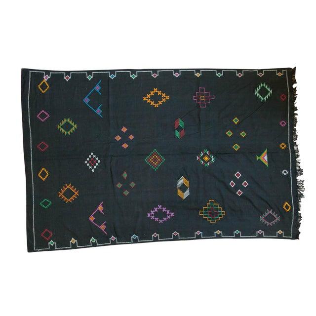 Black Moroccan Embroidered Kilim Carpet - 6' x 9' - Image 1 of 7