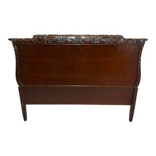 Vintage Carved Mahogany French Style Full Size Headboard For Sale