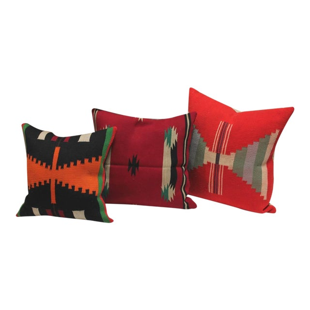 Group of Three Rare Germantown Indian Weaving Pillows - Image 1 of 7