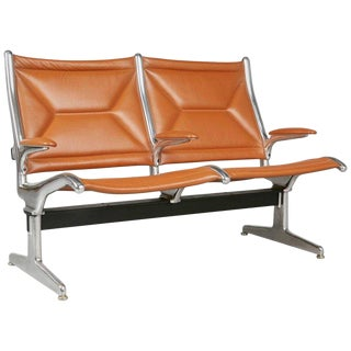 Edelman Leather Two-Seat Tandem Sling by Charles Eames for Herman Miller For Sale