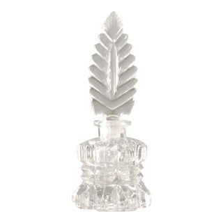 Art Deco Antique Glass Perfume Bottle With Stylized Feather Glass Stopper For Sale