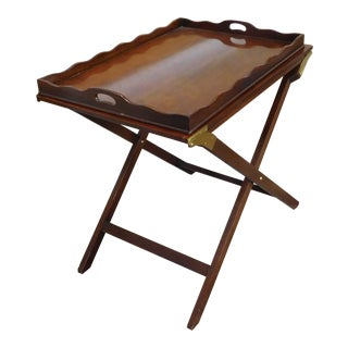 "Baker Furniture Lexicon Collection Mahogany ""The Party Butler"" Folding Service Tray Table"