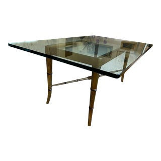 20th Century Hollywood Regency Rectangular Faux Bamboo and Glass Top Cocktail Table For Sale