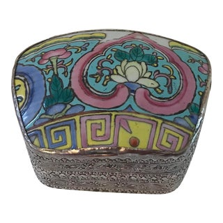Vintage Silver Inlaid Silver Trinket Box For Sale