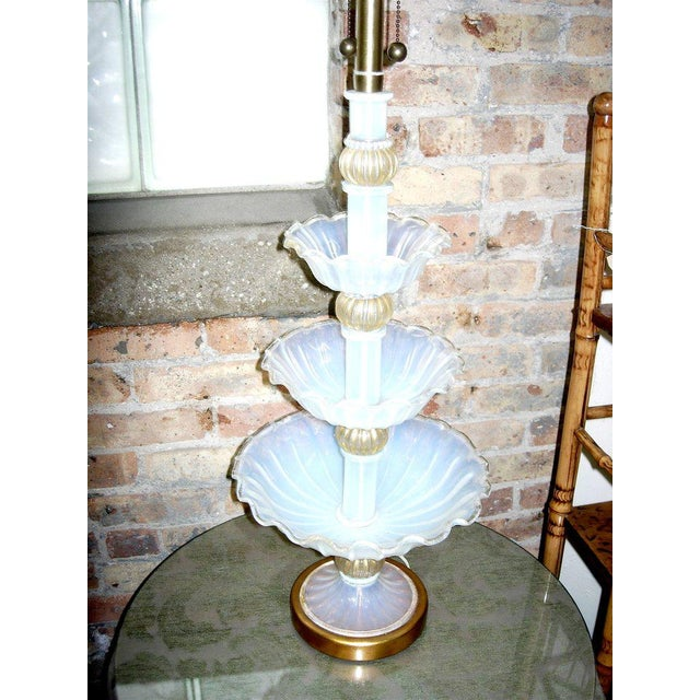 Murano glass three-tiered center piece fitted as a lamp. Marbro venetian glass. Great color. Provenance richard himmil...