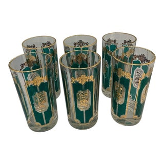 1950s Mid-Century Gold and Aqua Highball Glasses - Set of 6 For Sale