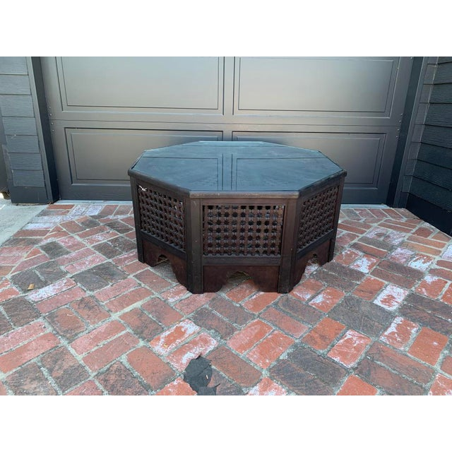 Mid 20th Century Vintage Anglo African Octagonal Black Wood and Glass Coffee Table For Sale - Image 5 of 5