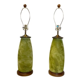 Stunning Frosted Green Glass Vintage Table Lamps - a Pair For Sale