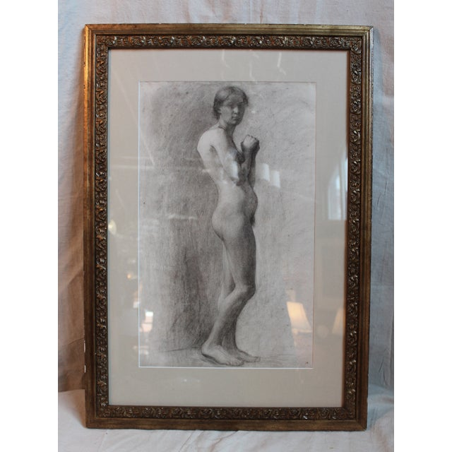 Charcoal on paper female nude circa 1895 by Milwaukee Artist, George Rabb (1866-1943). Unsigned, estate stamp on back....