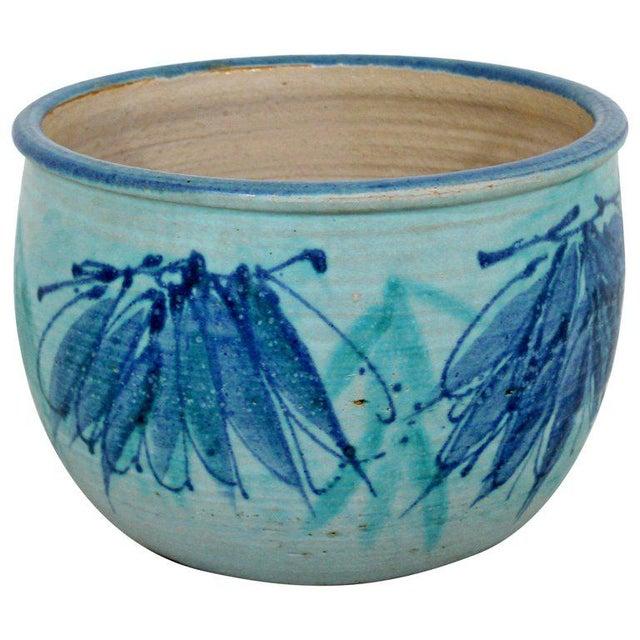 Blue Mid-Century Modern Signed j.t. Abernathy Blue Glazed Ceramic Pot, 1960s For Sale - Image 8 of 8
