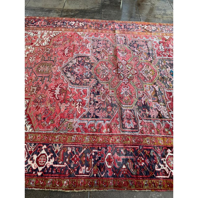 "1940s 1940s Persian Heriz Rug 11' 10"" X 7'4"" For Sale - Image 5 of 9"