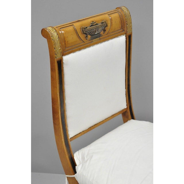 Regency Neoclassical Style Saber Klismos Leg Accent Side Desk Chair For Sale In Philadelphia - Image 6 of 13