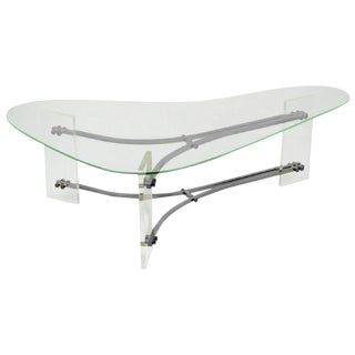 Biomorphic Lucite and Chrome Cocktail Table by Charles Hollis Jones For Sale
