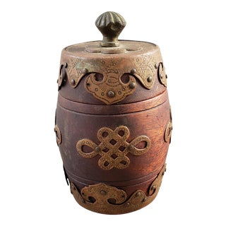 Circa 1920 Chinese Wood and Brass Barrel Form Tobacco Jar For Sale