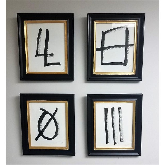Metal Ink Paintings on Watercolor Paper Framed in Black and Gold Frames - Set of 4 For Sale - Image 7 of 7