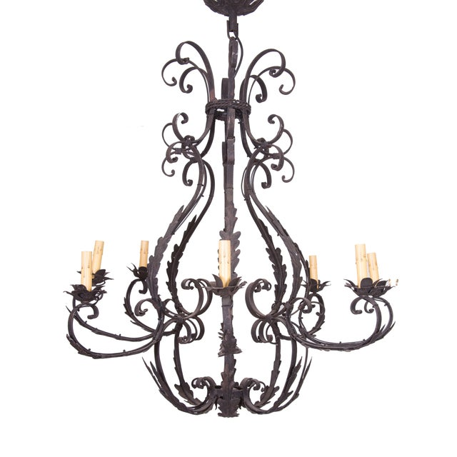 Wrought Iron Cage-Form Eight-Light Chandelier For Sale - Image 4 of 4
