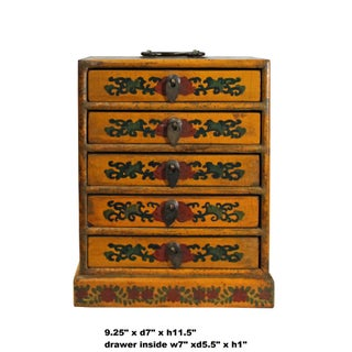 Chinese Distressed Yellow Dragon Graphic Trunk Box Chest Preview